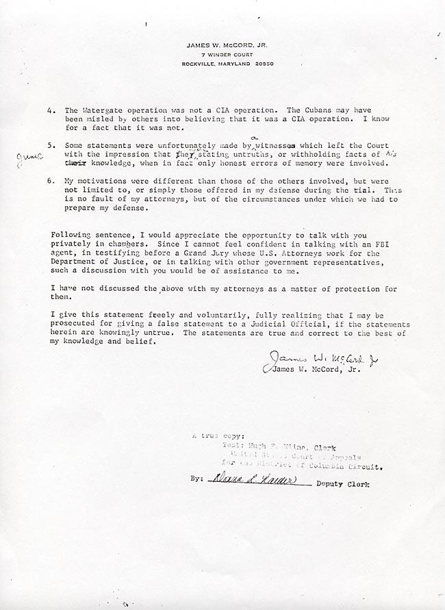 James McCord s Letter To Judge John Sirica